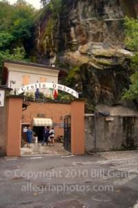 Facade of Crotto Ombra Restaurant, Chiavenna, Italy