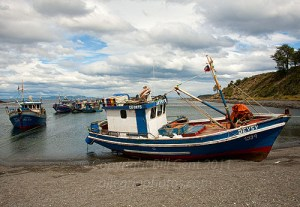 Fishing boats at Bahia Mansa, Patagonia