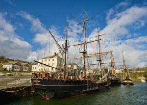 Masted ships, Charlestown Harbor, Cornwall