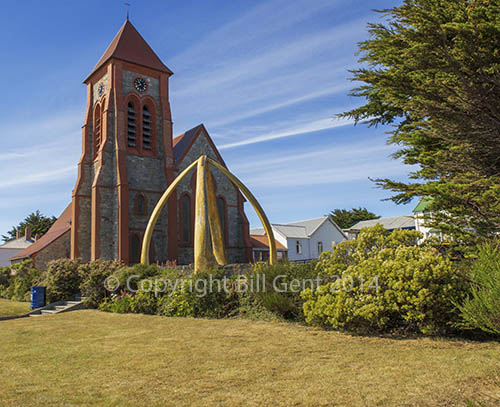 Stanley Cathedral and the Whalebone Arch, Falkland Islands
