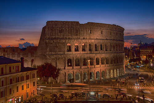 Sunset over the Colosseum from the Hotel Manfrdi