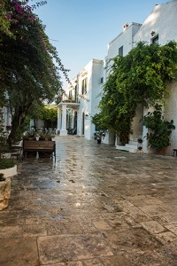 The rain washed entrance to the Masseria Il Frantoio, Puglia