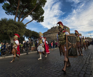 Roman soldiers marching in La Befana Parade
