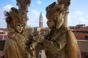 Costumers on the terrace of the Bovolo staircase, Venice