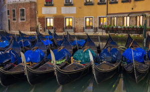 A row of gondolas in the Bacino Orseolo, Venice