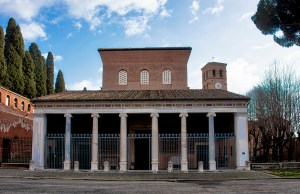 The facade of St. Lawrence Outside the Walls, Rome