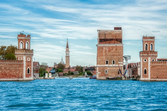 A peek inside the Arsenale as seen from the Lagoon