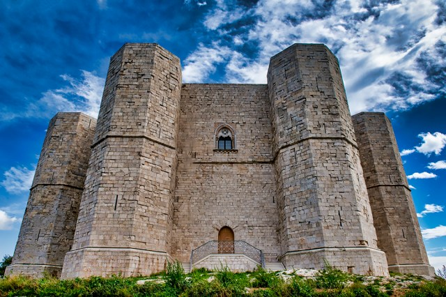 Four of the eight towers on the Castel del Monte