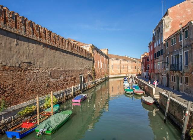 14th century walls surround the Arsenale, Venice