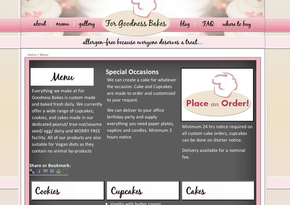 New Site Launch! – For Goodness Bakes Bake Shop