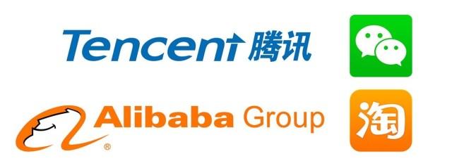 I colossi cinesi Alibaba e Tencent.