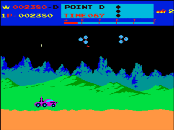 moon patrol parallax scrolling grafica 3d