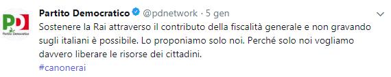 Il tweet del PD, che in campagna elettorale promette di rimuovere il canone Rai che ha messo in bolletta.