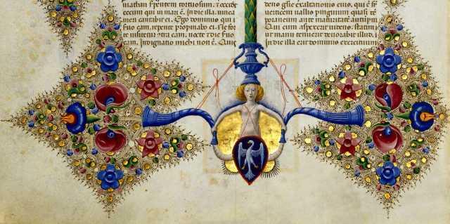 una pagina miniata de La Bibbia di Borso d'Este
