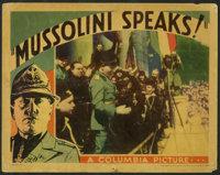 """Locandina del film prodotto dalla Columbia Pictures """"Mussolini Speaks!"""" (1933)."""