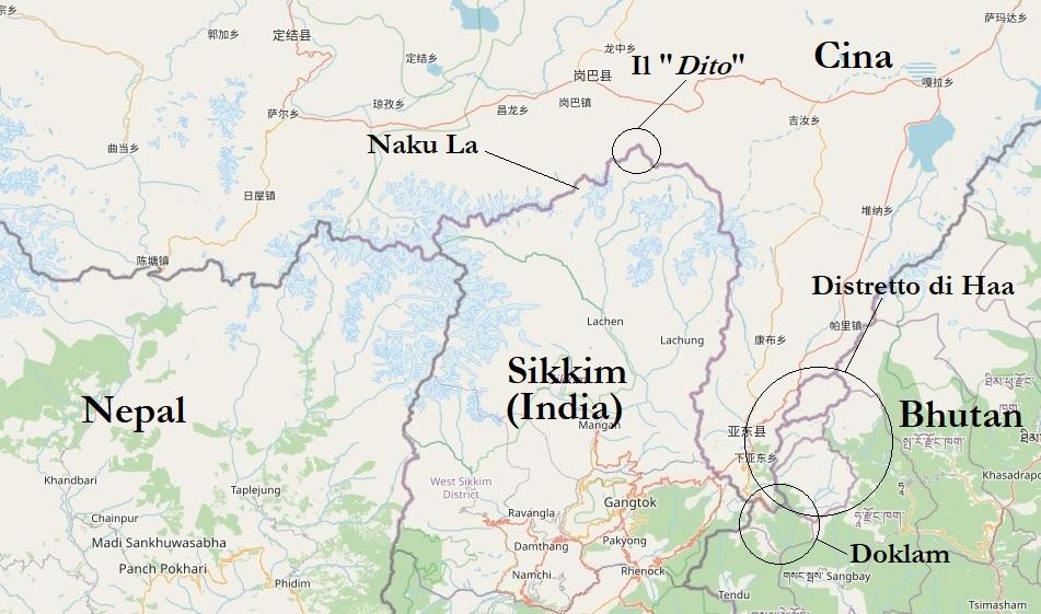 Sikkim e Doklan © OpenStreetMap contributors CC BY-SA