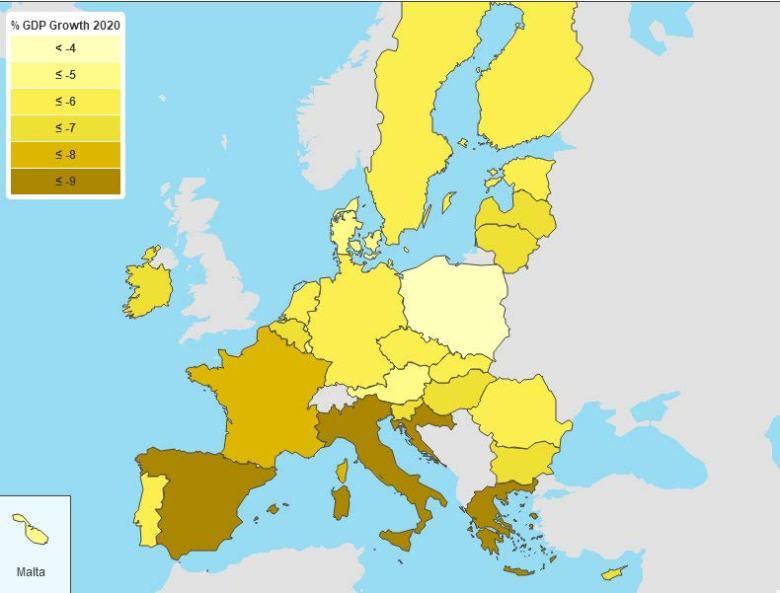 Il PIL degli Stati europei nel 2020