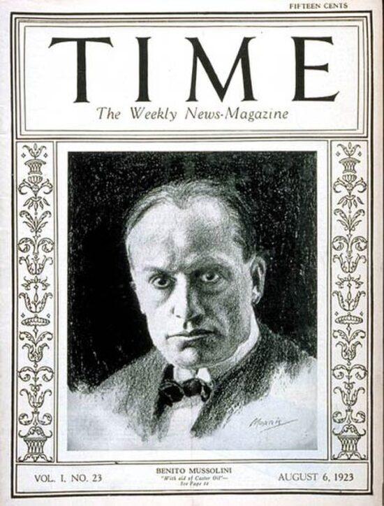 Benito Mussolini sulla copertina della rivista Time, nell'agosto del 1923. Il nazionalismo delle origini fece fatica ad incastrarsi con il movimento fascista.