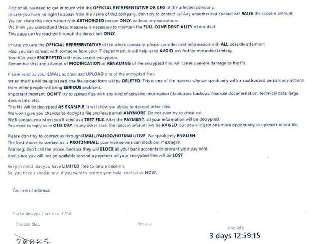 mail di rivendicazione con il riscatto inviata dagli hacker alla Regione Lazio