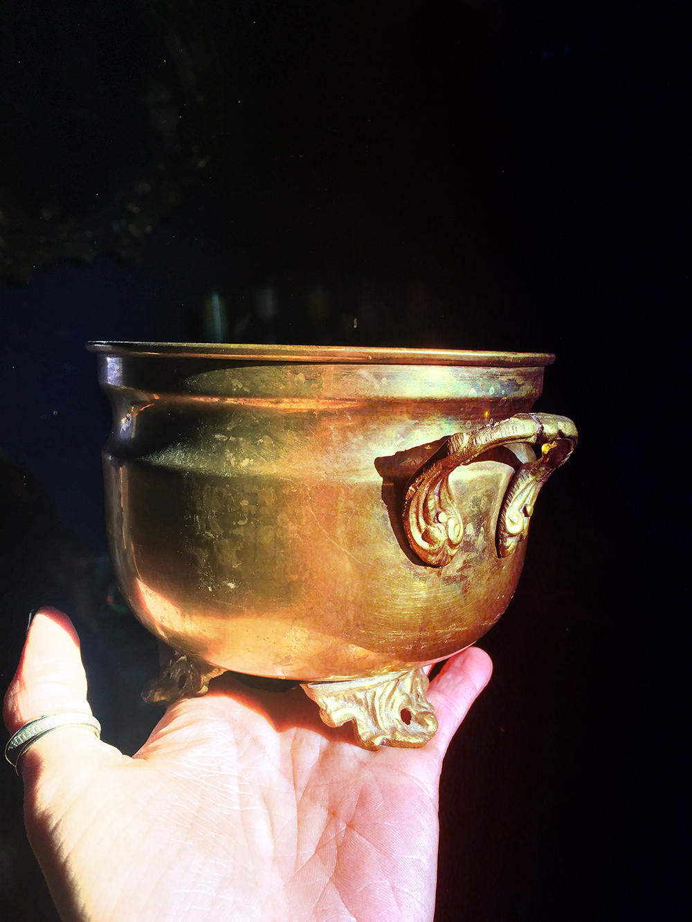Vintage Brass Cauldron Large