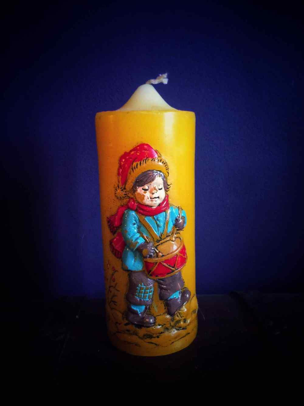 The little drummer boy vintage candle
