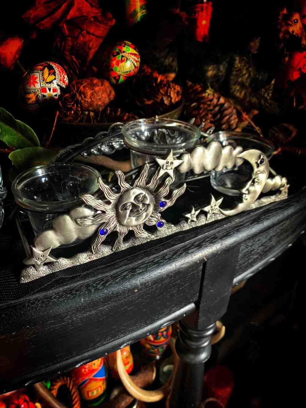Sun Moon Votive Candle Holders Vintage