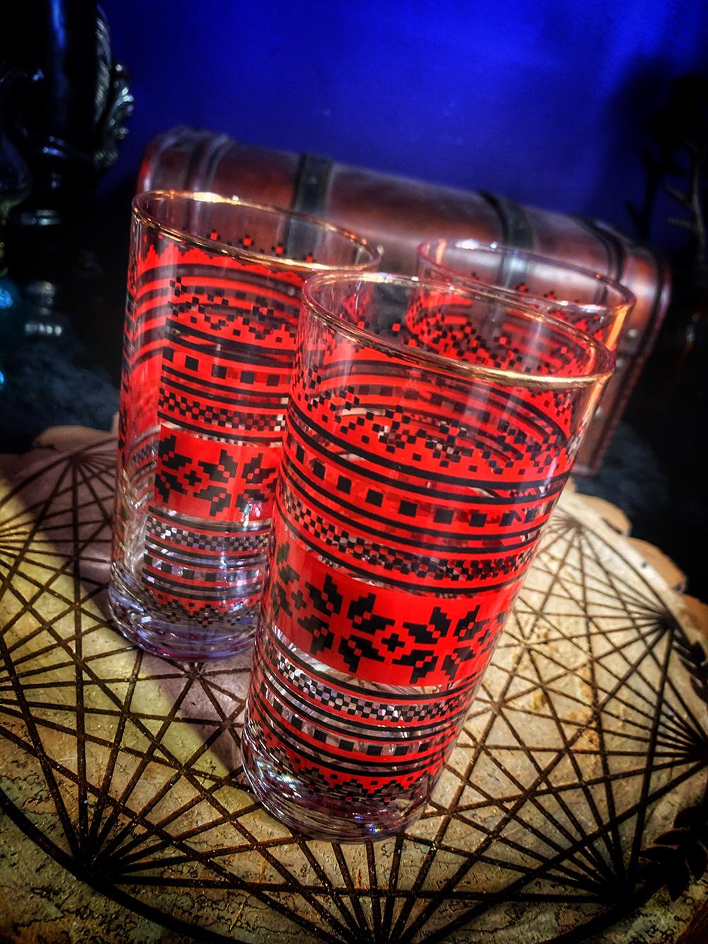 Slavic Embroidery Glass Vintage
