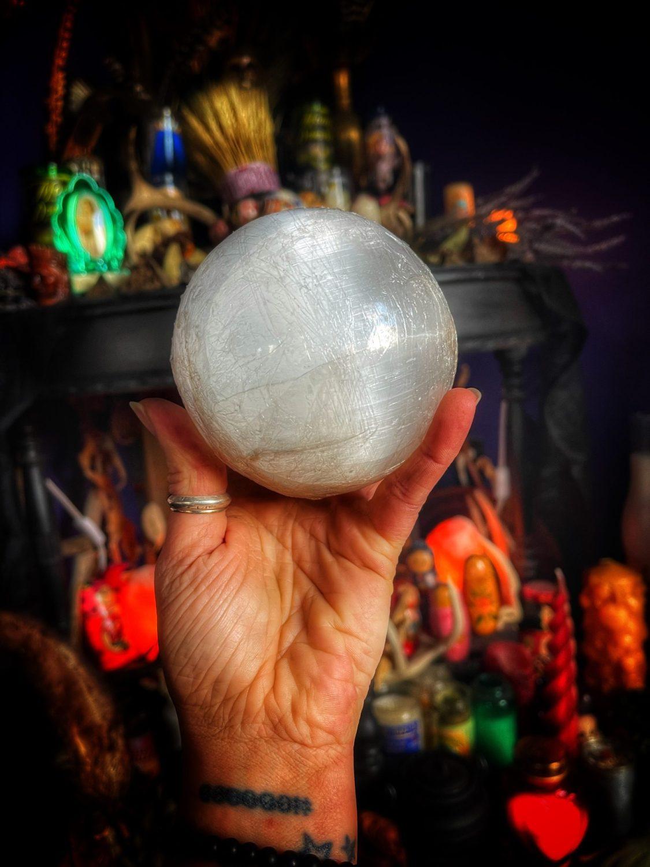 Full Moon Selenite Scrying Stone & Stand