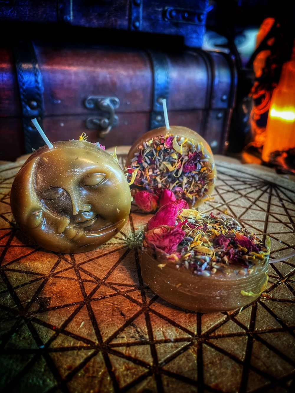 Garden of the Moon Dressed Beeswax Candle