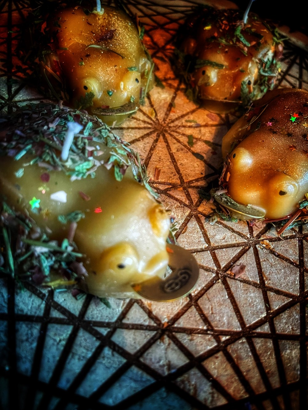 The Golden Money Toad Dressed Beeswax Candle