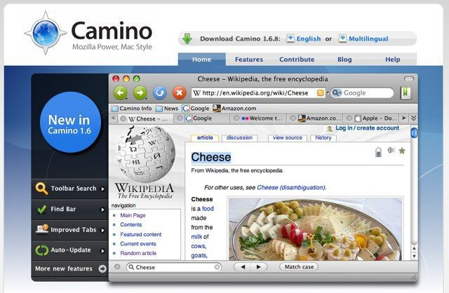 Camino Web browser for Mac