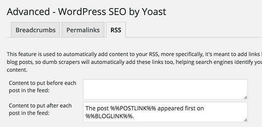 Yoast SEO RSS Feed