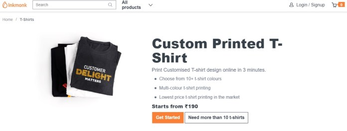 301169b2 The Inkmonk Company is providing customized T-shirts and also various  categories like visiting cards, mugs,button badges, mailer box, courier  bag, ...
