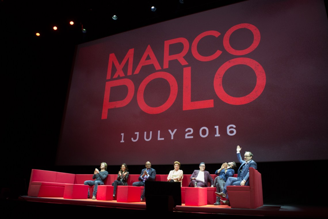 Netflix Event, Paris 11.04.2016 Returning Originals Panel (L-R) Lorenzo Richelmy, Michelle Yeoh, Tituss Burgess, Kate Mulgrew, Lea Delaria, Charlie Cox, moderator Chris Hewitt