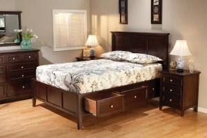 Whittier Wood Furniture McKenzie Bedroom Suite with Storage Bed in Caffe Finish