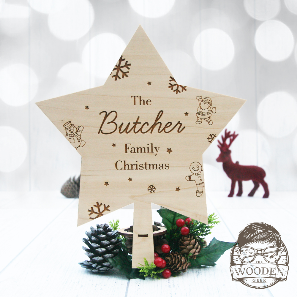 Personalised Christmas Star Tree Topper The Wooden Geek