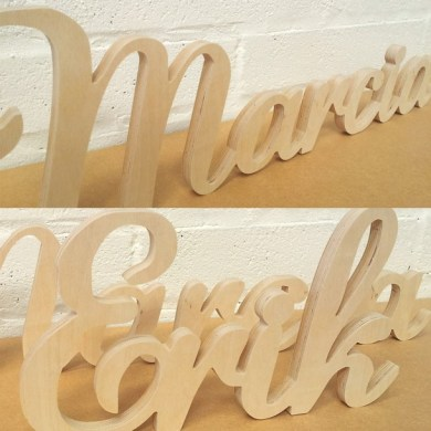 Unpainted Lauren Script Joined Wooden Letters   The Wooden Letters     Unpainted Lauren Script Joined Wooden Letters