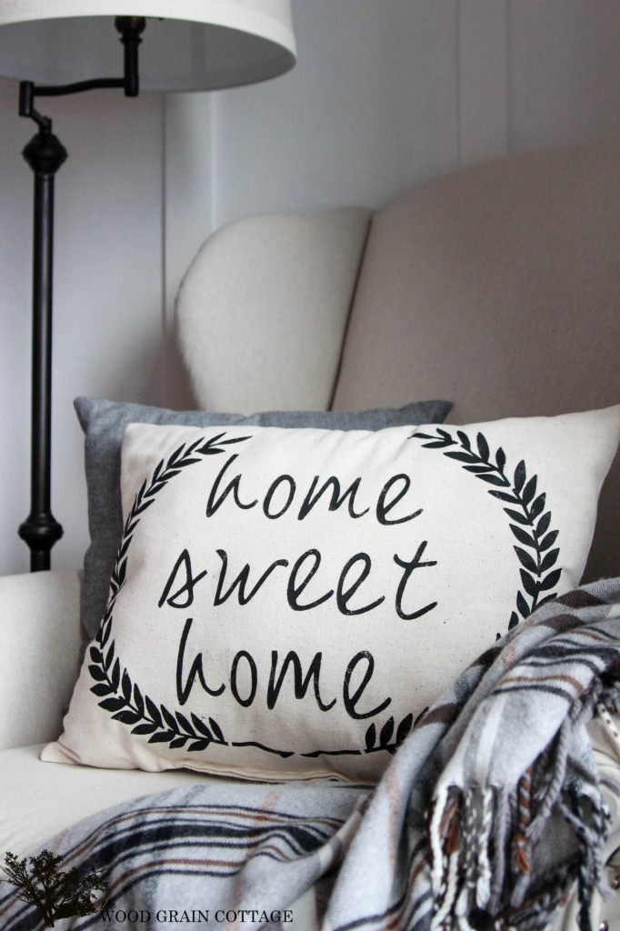 DIY Home Sweet Home Pillow by The Wood Grain Cottage
