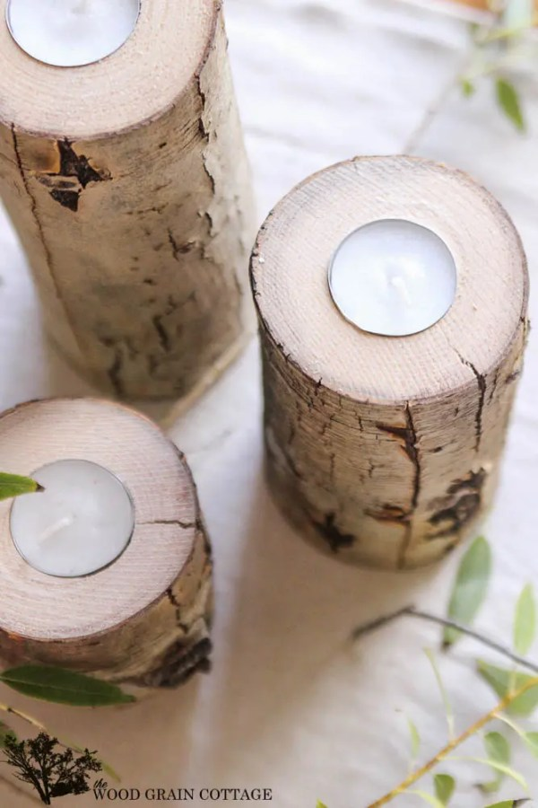 DIY Rustic Tea Light Holder by The Wood Grain Cottage