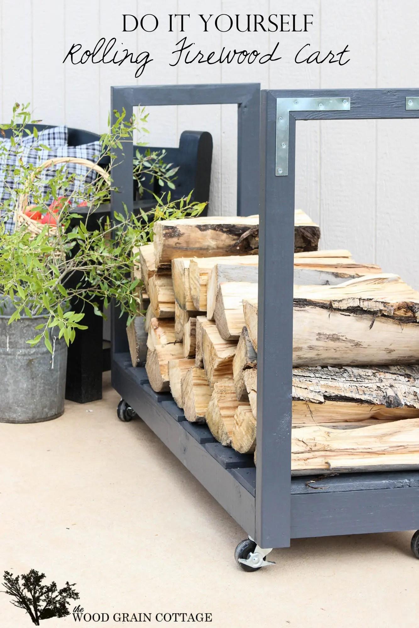 diy rolling firewood cart the wood