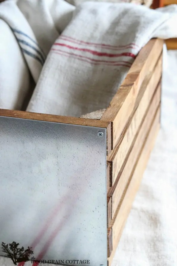 galvanized metal and wood storage crate