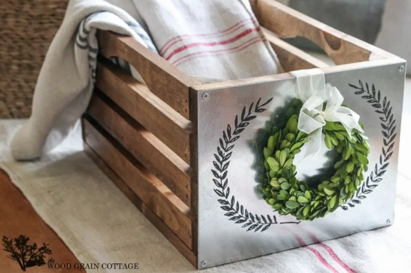 DIY farmhouse wood and metal crate