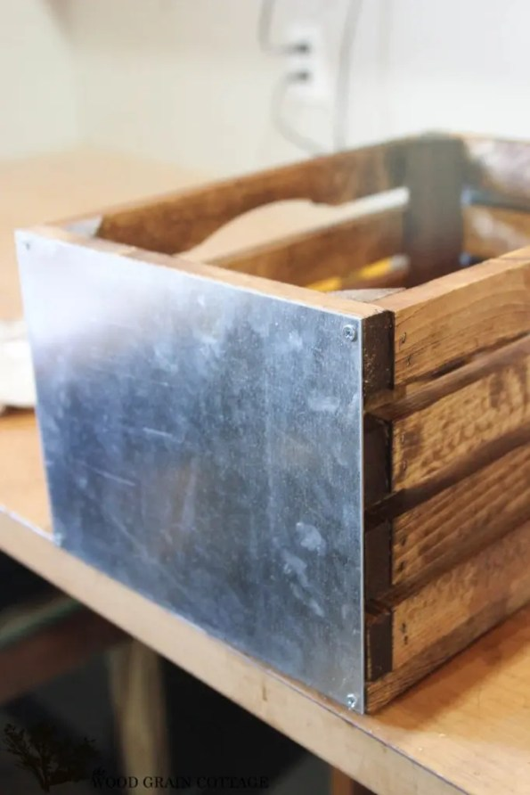 DIY Galvanized metal wood crate