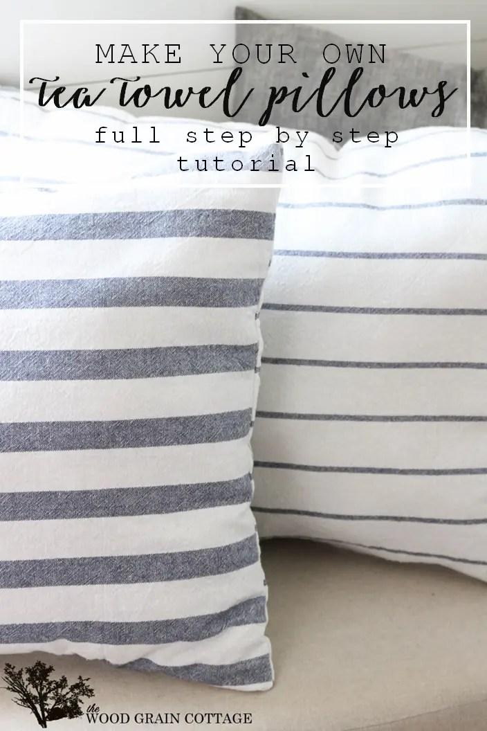 diy tea towel pillows the wood grain