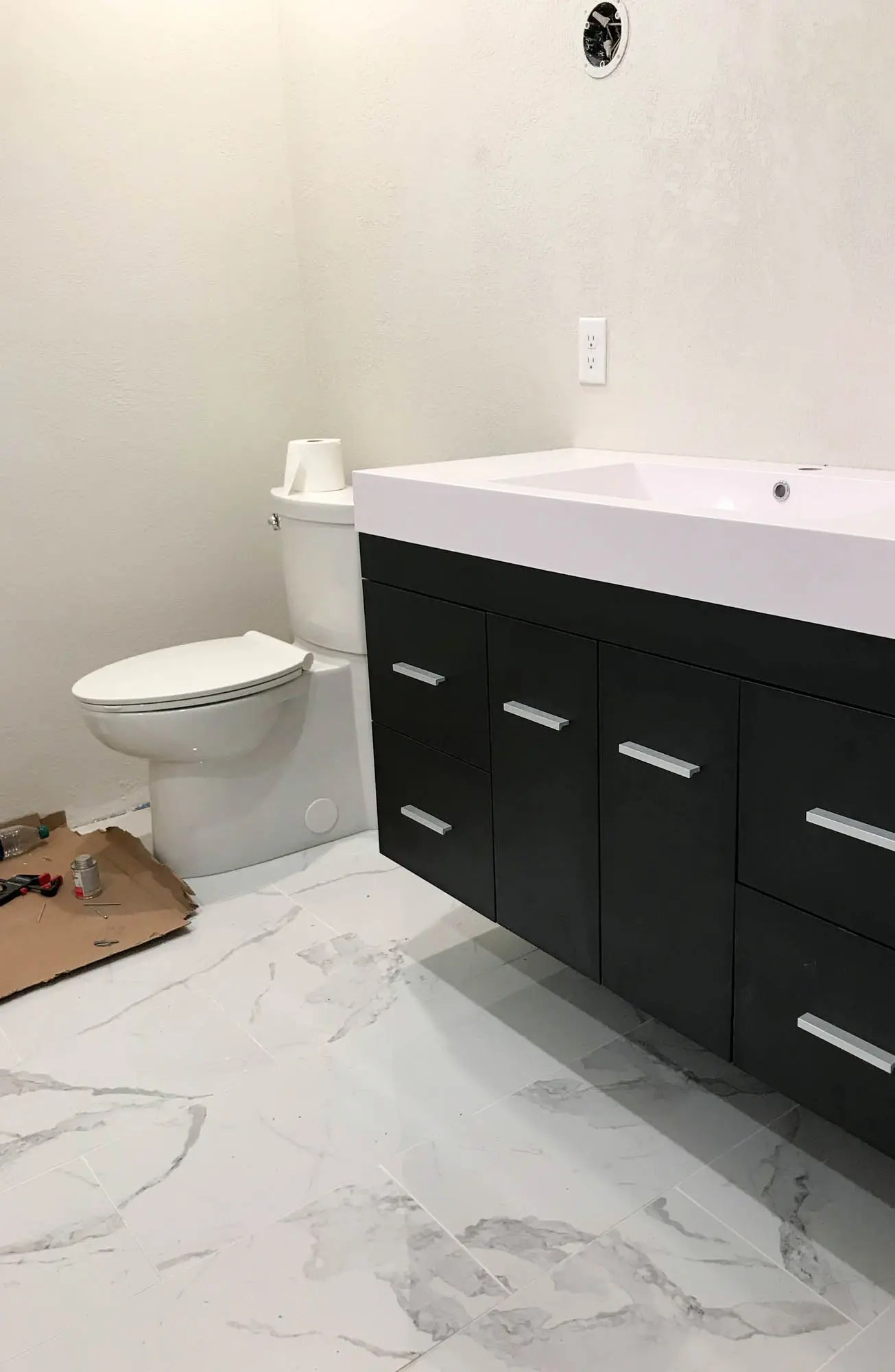 How We Installed Our Floating Vanity The Wood Grain Cottage