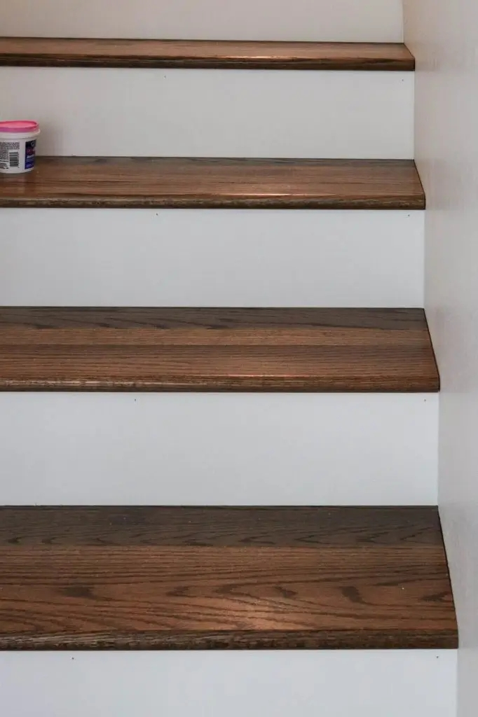 Diy Staircase Makeover The Wood Grain Cottage | Installing Hardwood Stairs Over Existing Stairs | Prefinished Stair | Stair Tread Caps | Carpeted Stairs | Wood Flooring | Treads