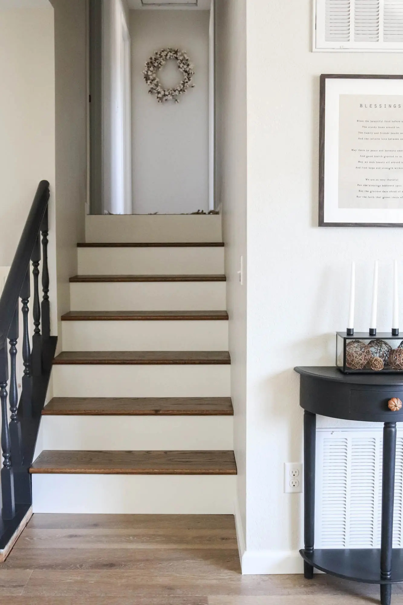 Diy Staircase Makeover The Wood Grain Cottage   Putting Wood On Stairs   Carpeted Stairs   Stair Risers   Concrete Stairs   Treads   Engineered Wood Flooring
