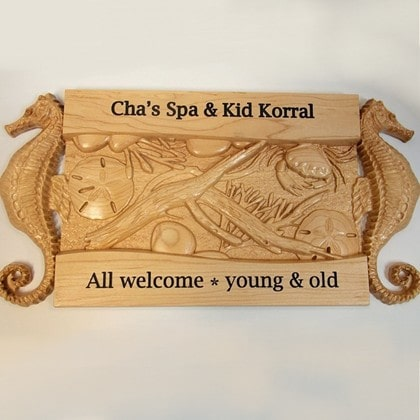 Carved Seahorse Spa Wood Sign