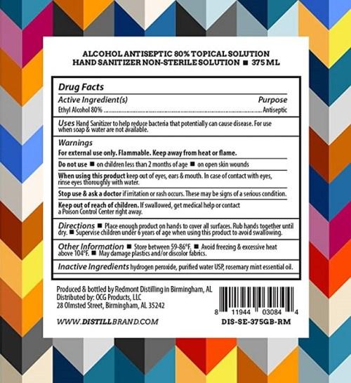 Distill Brand Sanitizing Elixir back label