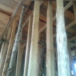 Wooden beams support the 2nd floor construction